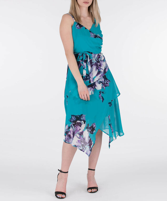 Crossover Sharkbite Hem Dress, Aqua Print, hi-res