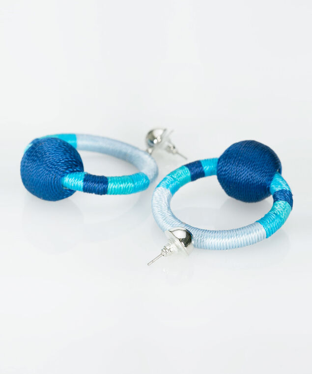 Wrapped Hoop & Ball Earring, Tropical Teal/Aqua/Ink Blue, hi-res