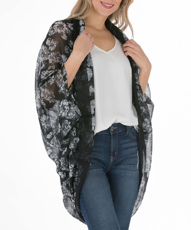Floral Print Cocoon-Style Ruana, Black/Grey, hi-res