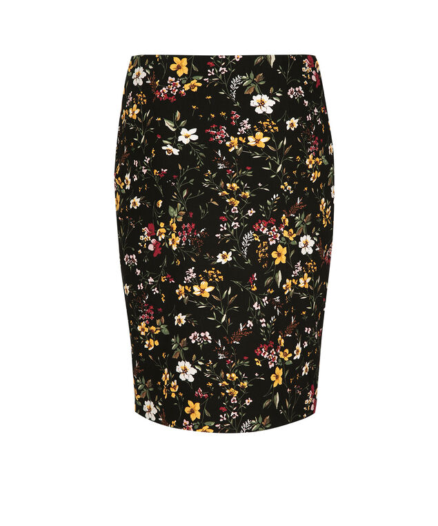 Floral Pencil Skirt, Black/Port/Marigold Print, hi-res
