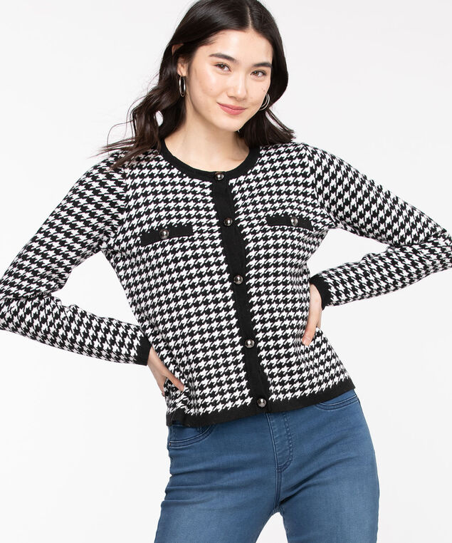 Houndstooth Button Front Cardigan, Black/White