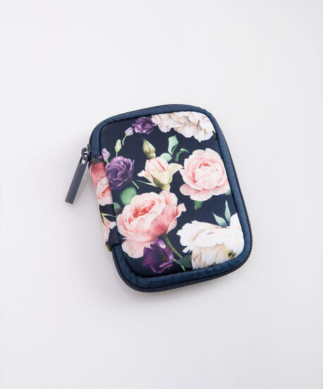 Floral Ear Bud Case, True Navy/Dusty Pink/Berry, hi-res