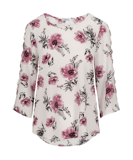 Criss-Cross Cage Sleeve Blouse, Pearl/Mid Pink/Grey, hi-res