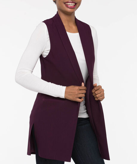 Easy Stretch Longline Vest, Plum, hi-res
