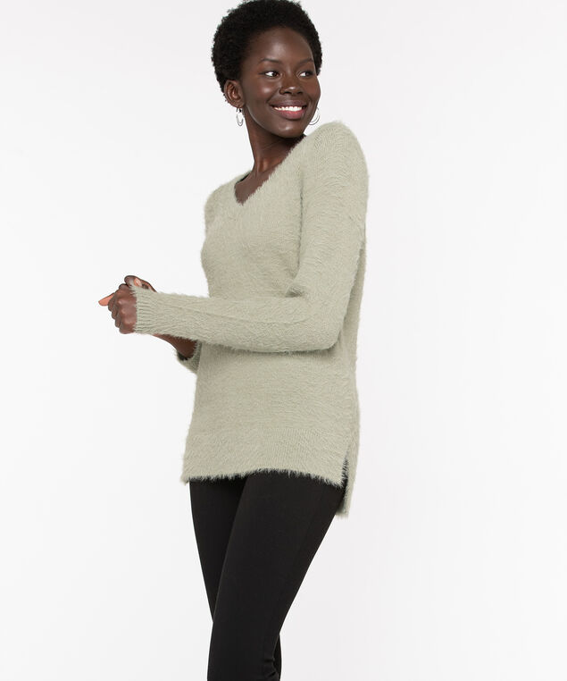 V-Neck Feather Yarn Pullover, Seagrass, hi-res