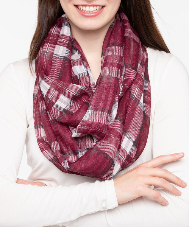 Plaid Print Eternity Scarf, Pearl/Burgundy, hi-res