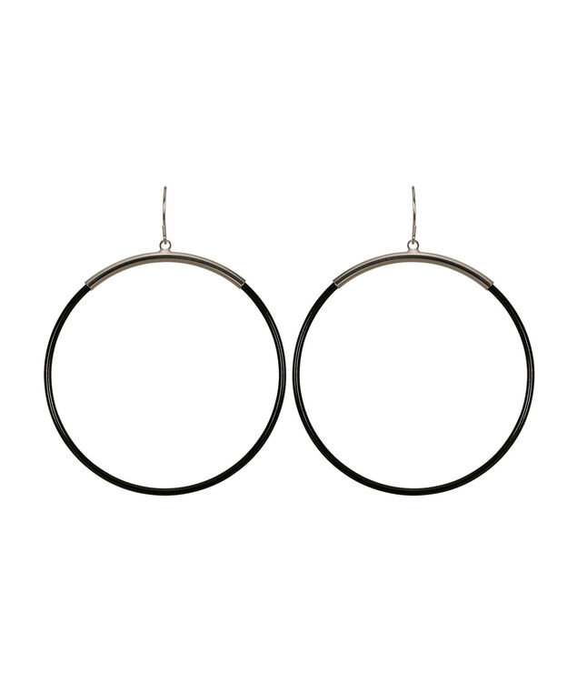 Drop Hoop Earring, Black/Rhodium, hi-res