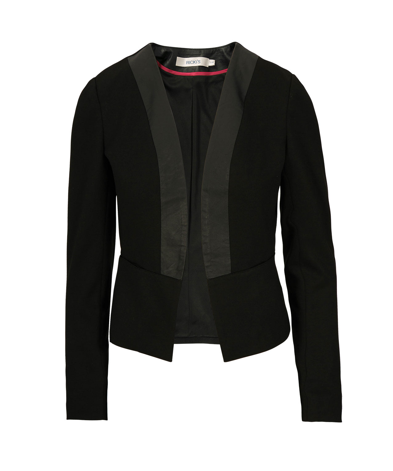 Faux Leather Trim Knit Blazer, Black, hi-res