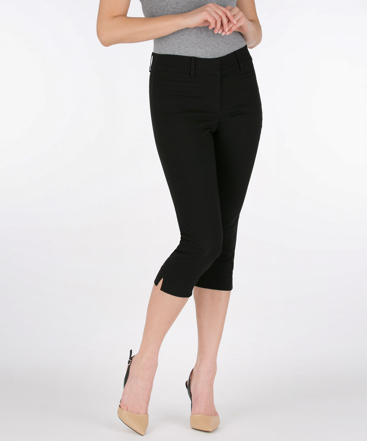 Microtwill Fly Front Capri Pant, Black, hi-res