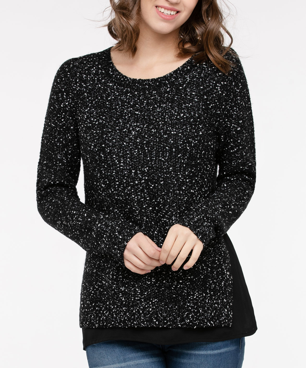 Speckled Pullover Fooler Sweater, Black/Pearl, hi-res