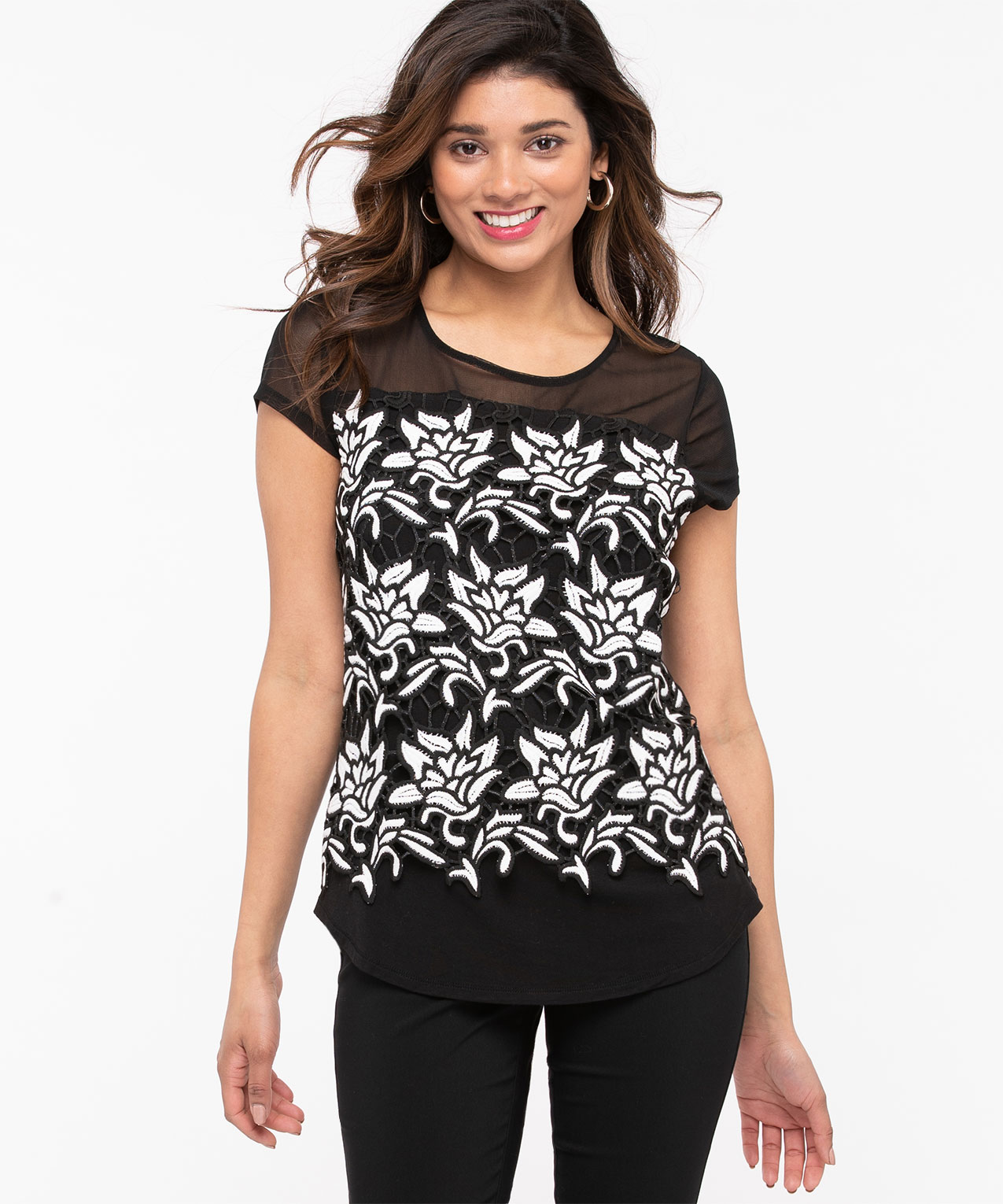 Crochet Overlay Illusion Neck Top, Black/Pearl, hi-res