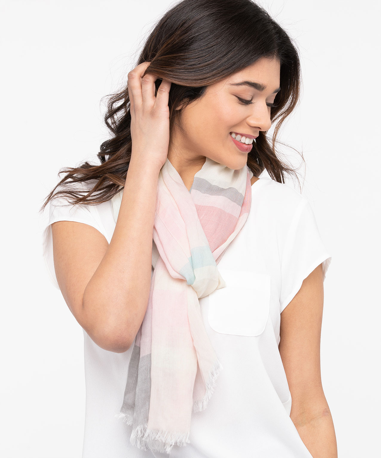 Pastel Stripe Oblong Scarf, Grey/Cool Mint/Pearl/Rose Petal, hi-res