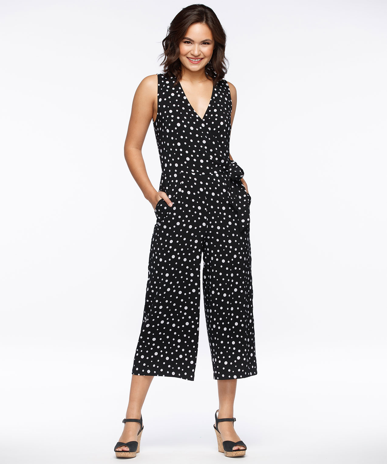 Polka Dot Crossover Jumpsuit Rickis