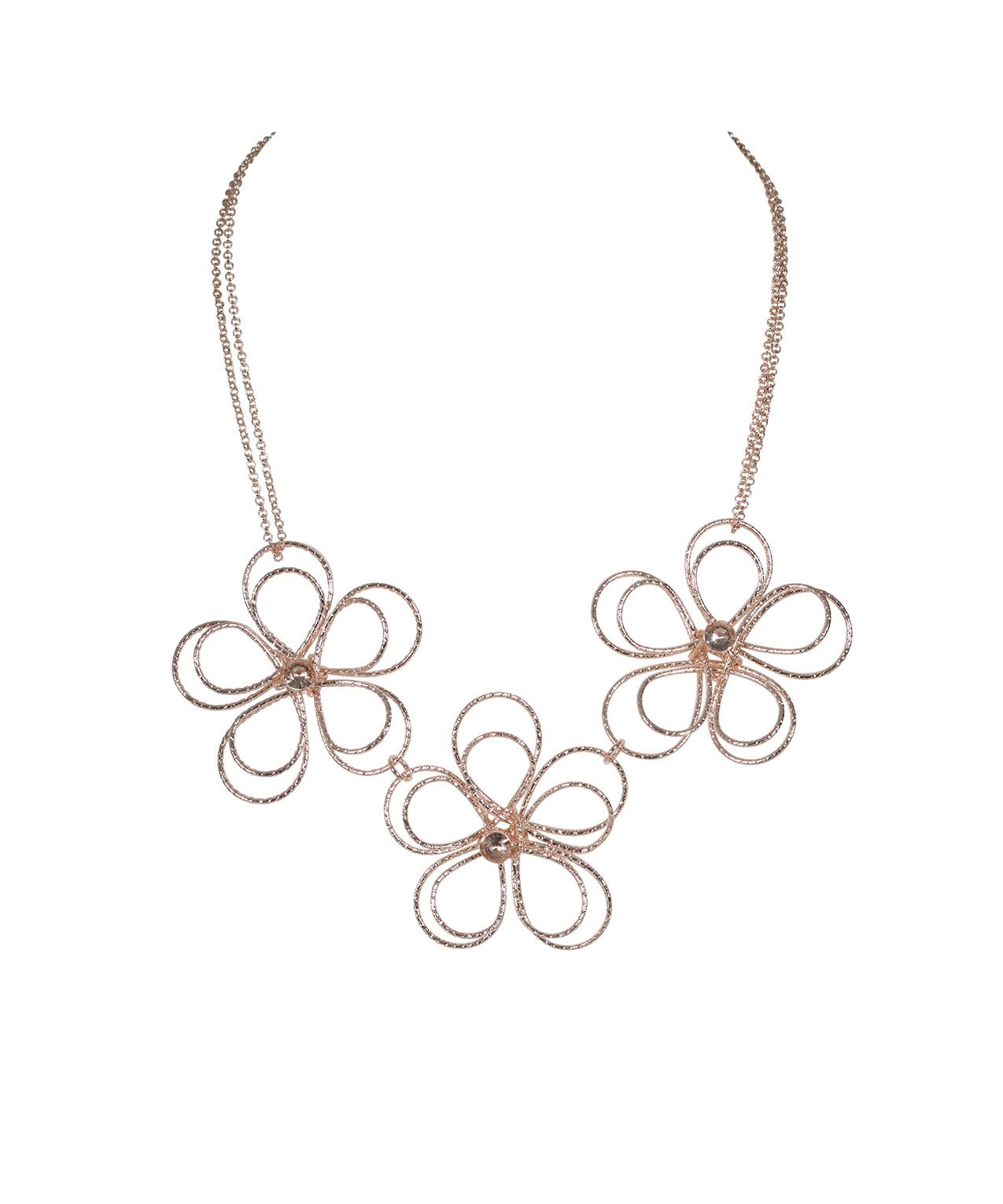 Rose Gold Wire Flower Statement Necklace Soft Rose Gold Ricki S