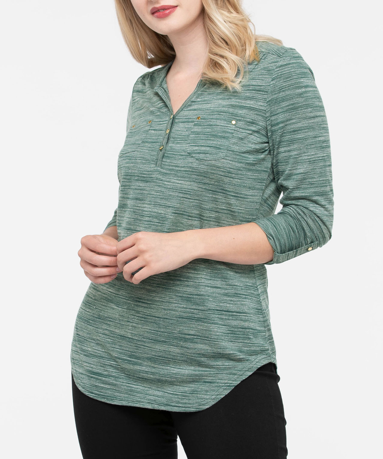 3/4 Sleeve Studded Henley Top, Ivy, hi-res