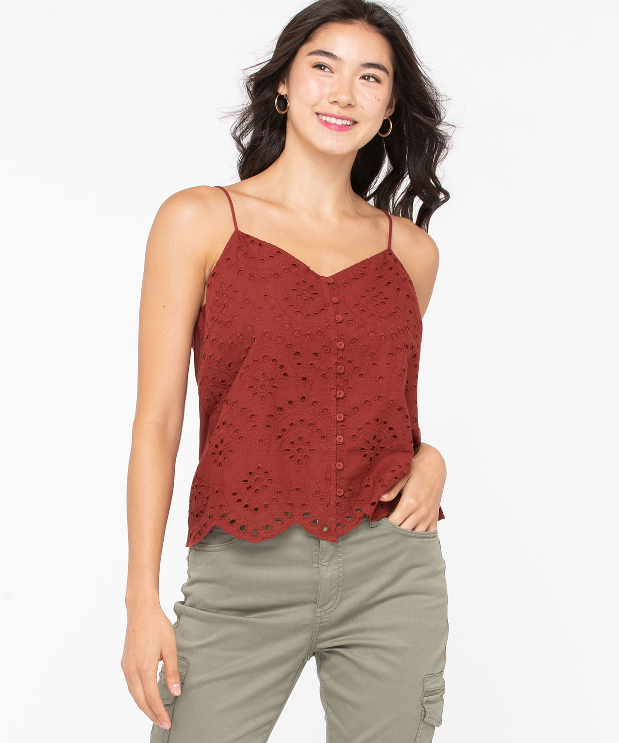 Strappy Eyelet Mixed Media Top, Roasted Beet, hi-res