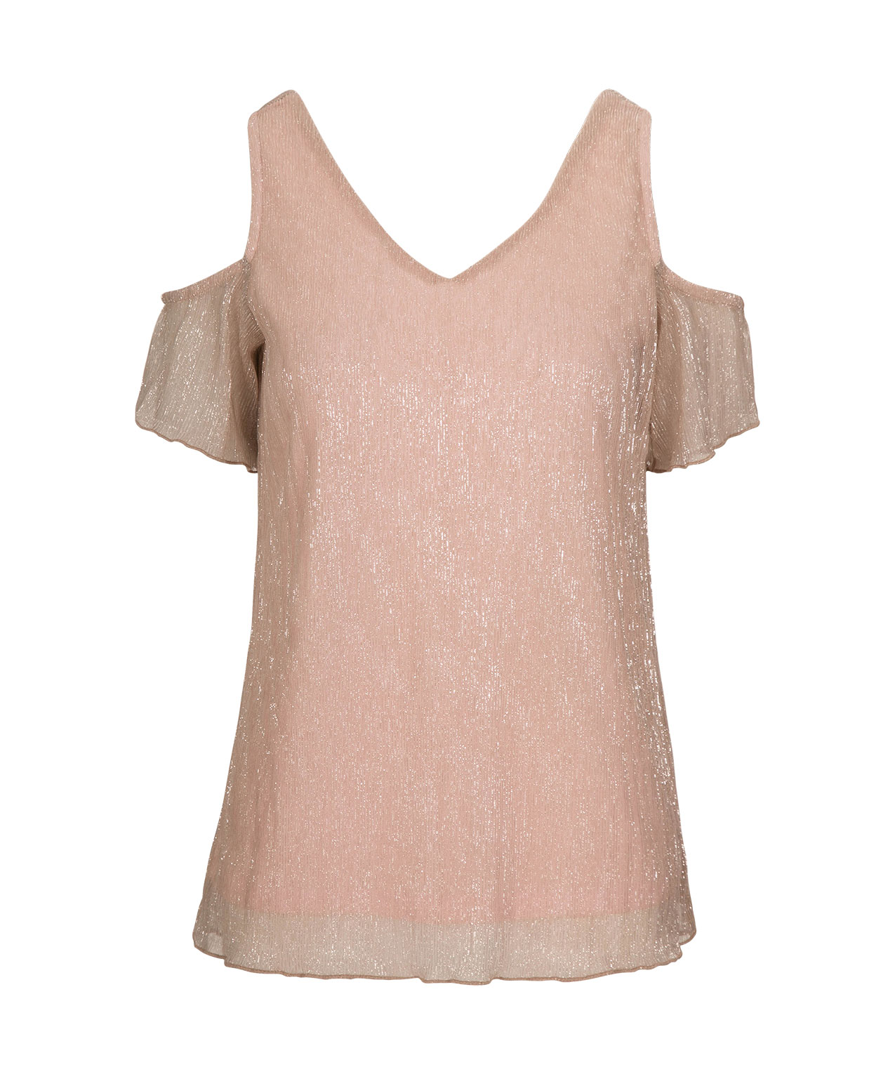 fdf807e69fe1f3 Cold Shoulder Shimmer Top