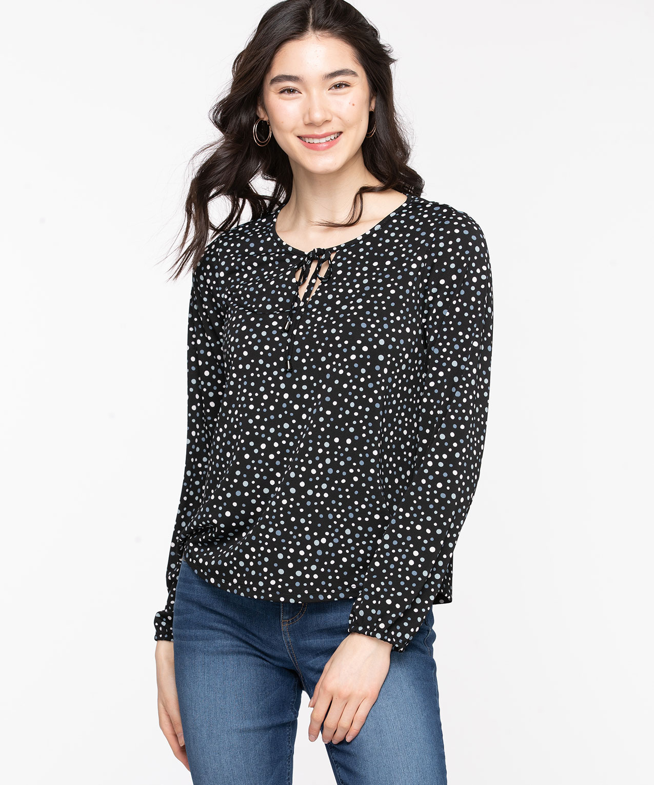 Patterned Peasant Style Top, Black/Dusty Blue Dots, hi-res
