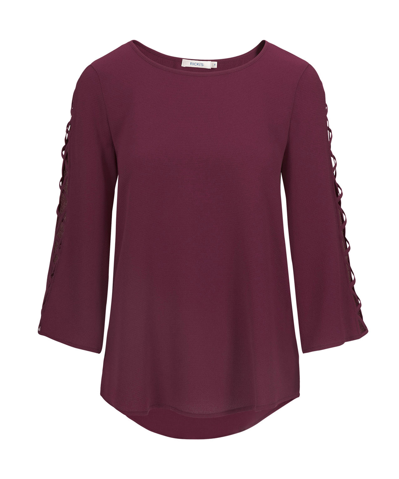 Scoop Neck Cage Sleeve Blouse, Black Cherry, hi-res