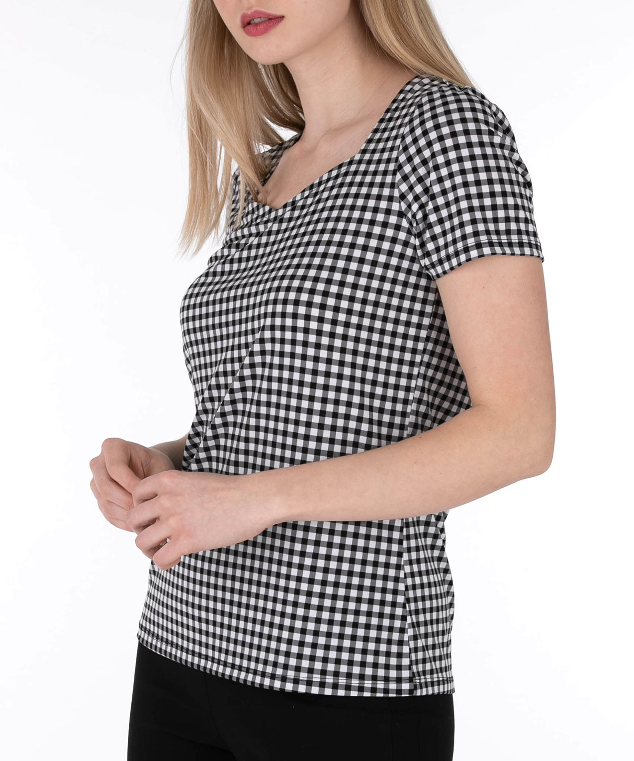 Sweetheart Neck Short Sleeve Top, Black/White, hi-res