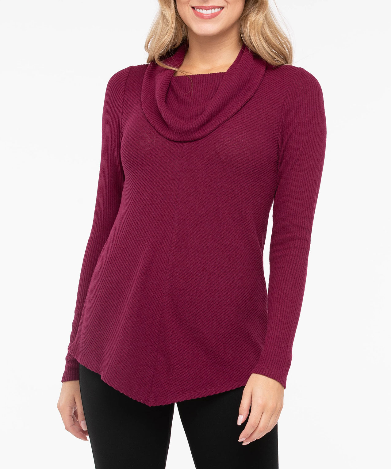 Cowl Neck Pointed Hem Top, Burgundy, hi-res