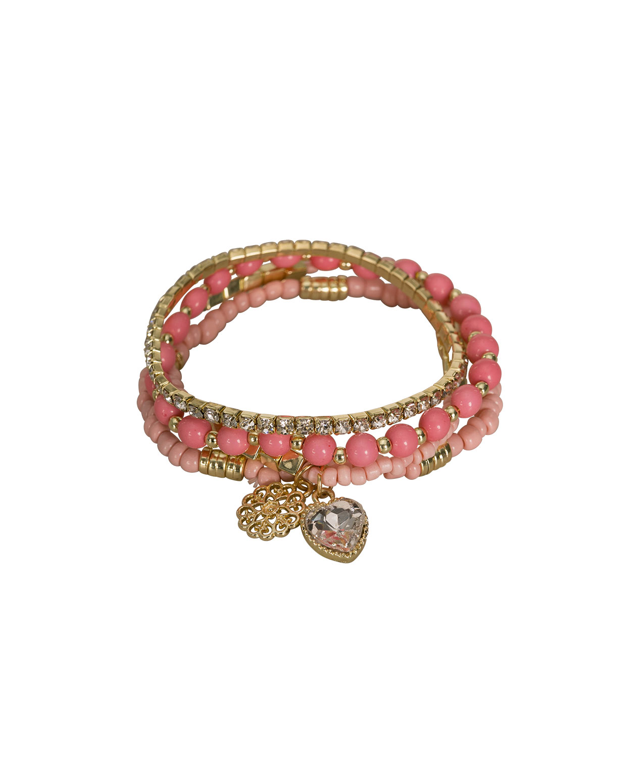 Beaded Stretch Bracelet Set, Pink/Soft Gold, hi-res