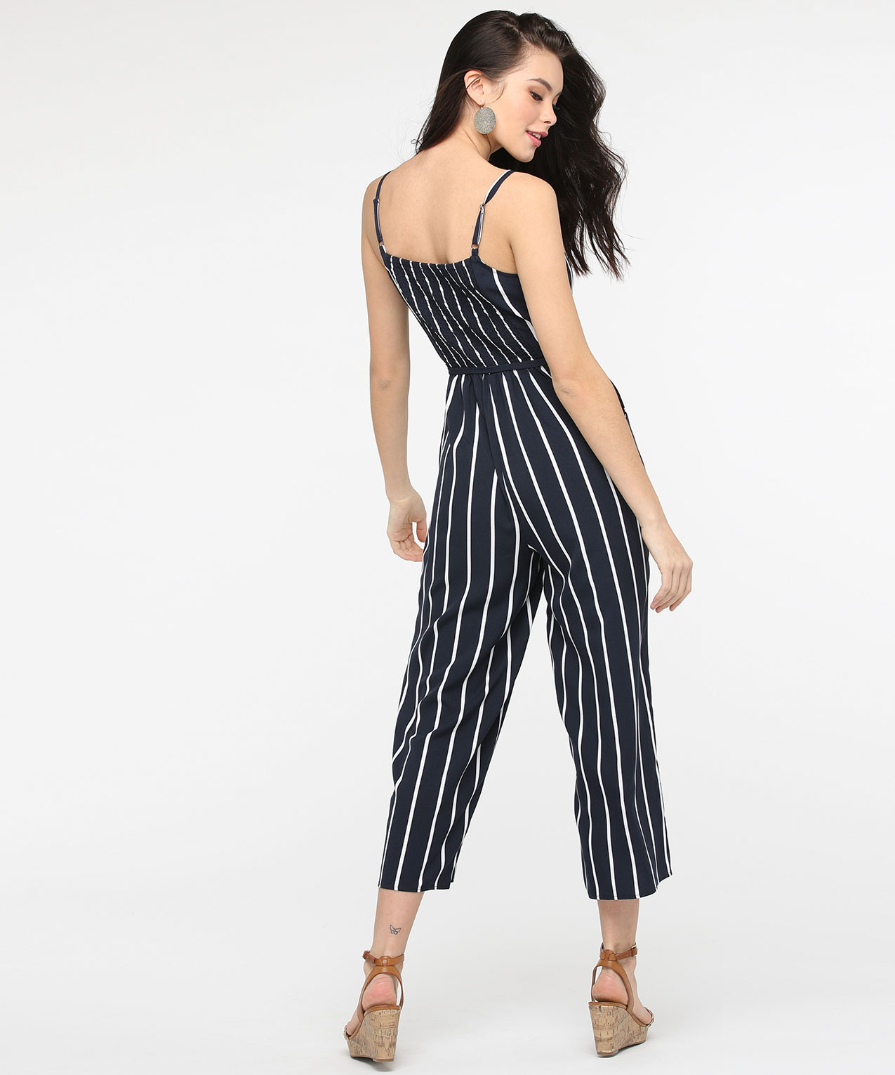 order on feet shots of pretty nice Strappy Striped V-Neck Jumpsuit | Summer Navy/True White | Rickis