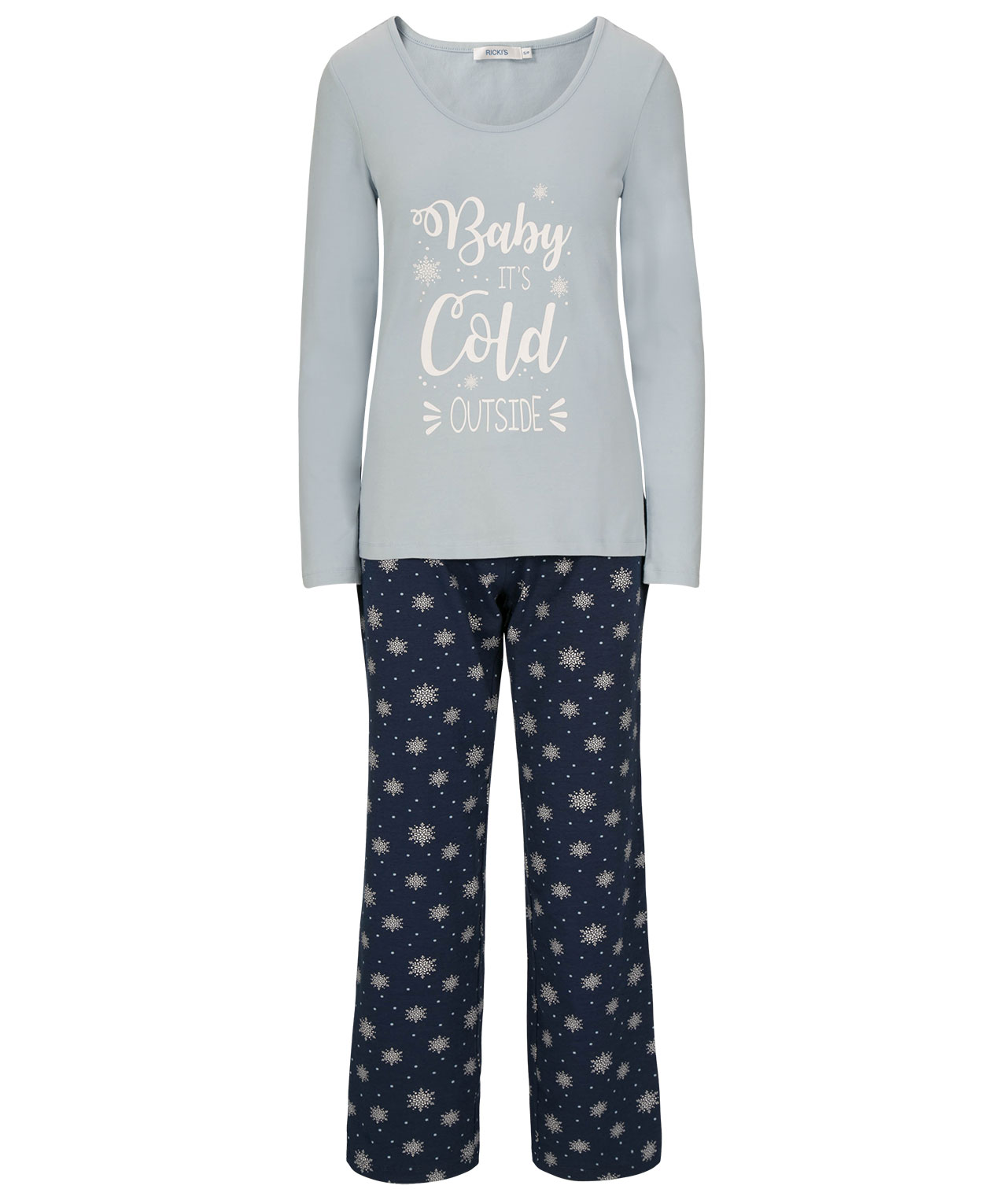 b7ad7ae02b32d Snowflake Pajama Set, Light Blue/Deep Sapphire, hi-res