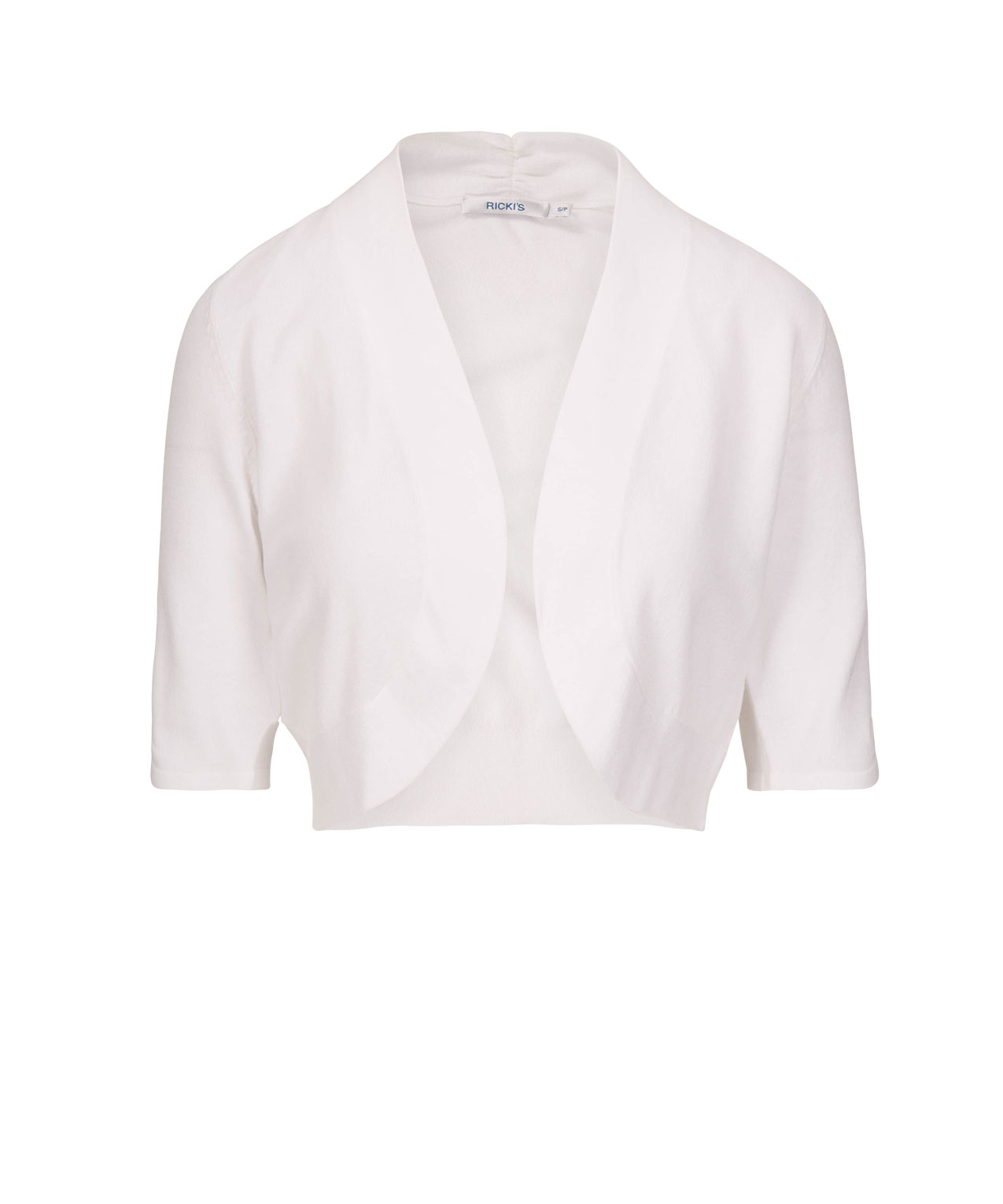 Ruched Sleeve Bolero, White, hi-res