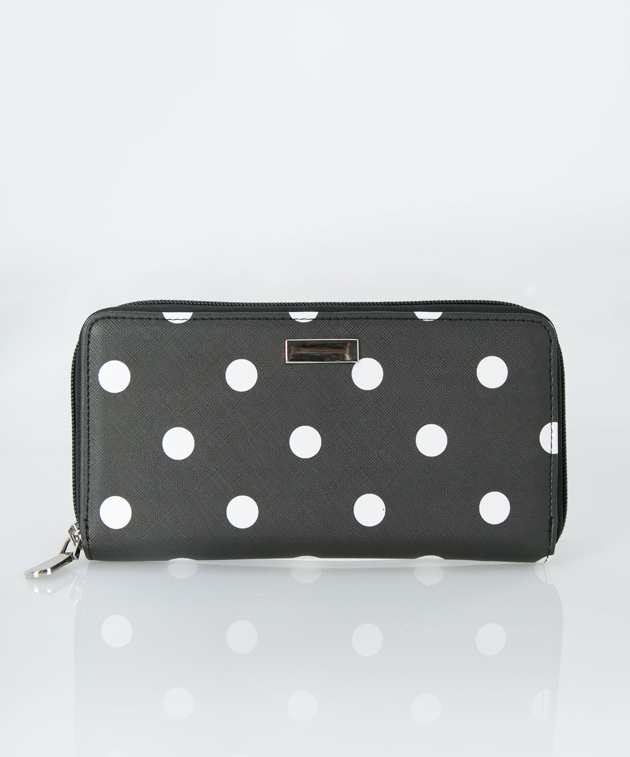 Polka Dot Zipper Wallet, Black/White, hi-res