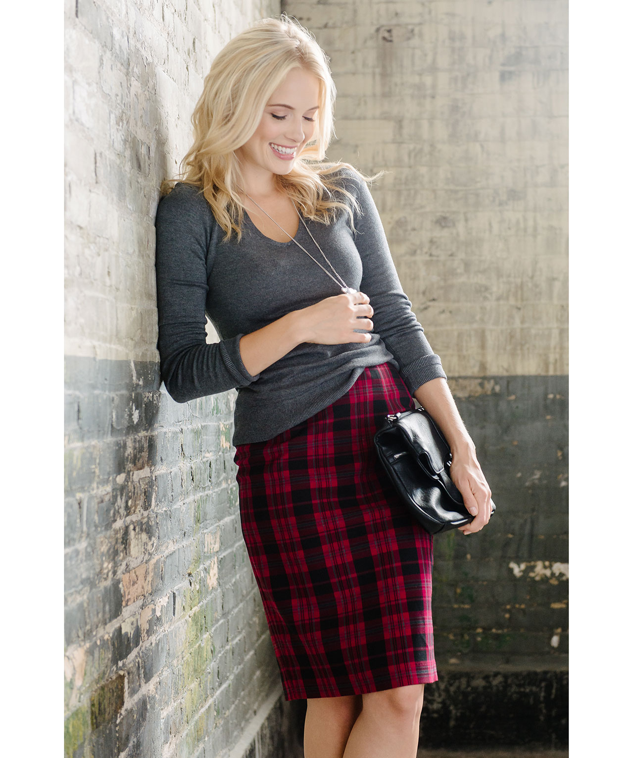 Red Plaid Pencil Skirt | Rickis