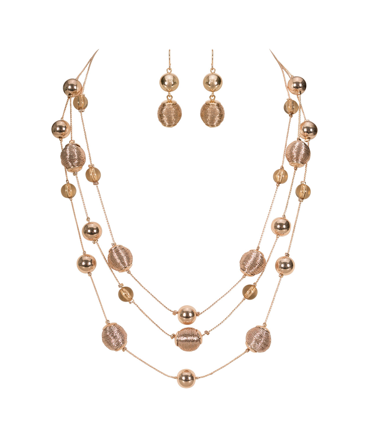 Rose Gold Stationed Bead Necklace Set, Rose Gold, hi-res