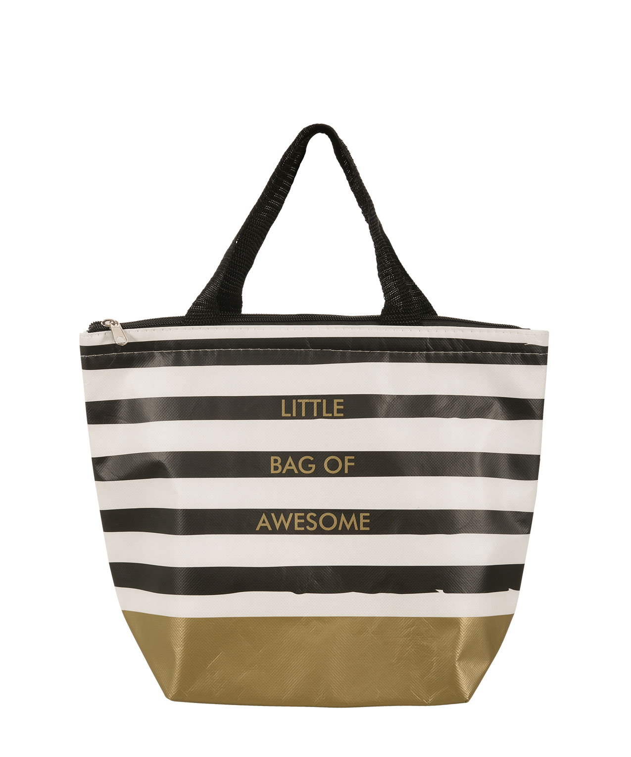 Bag Of Awesome Lunch Tote Black White Gold Hi Res