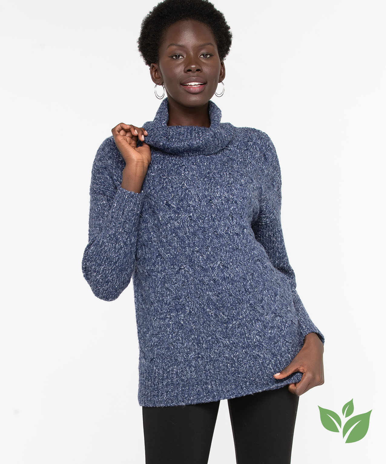 Eco-Friendly Cable Knit Sweater, Navy Mix, hi-res