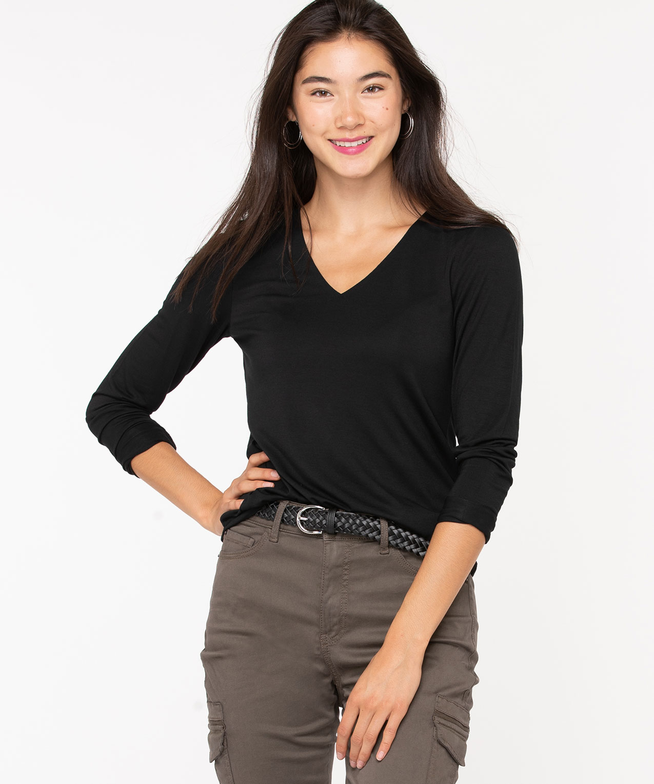 V-Neck Layering Essential Top, Black, hi-res