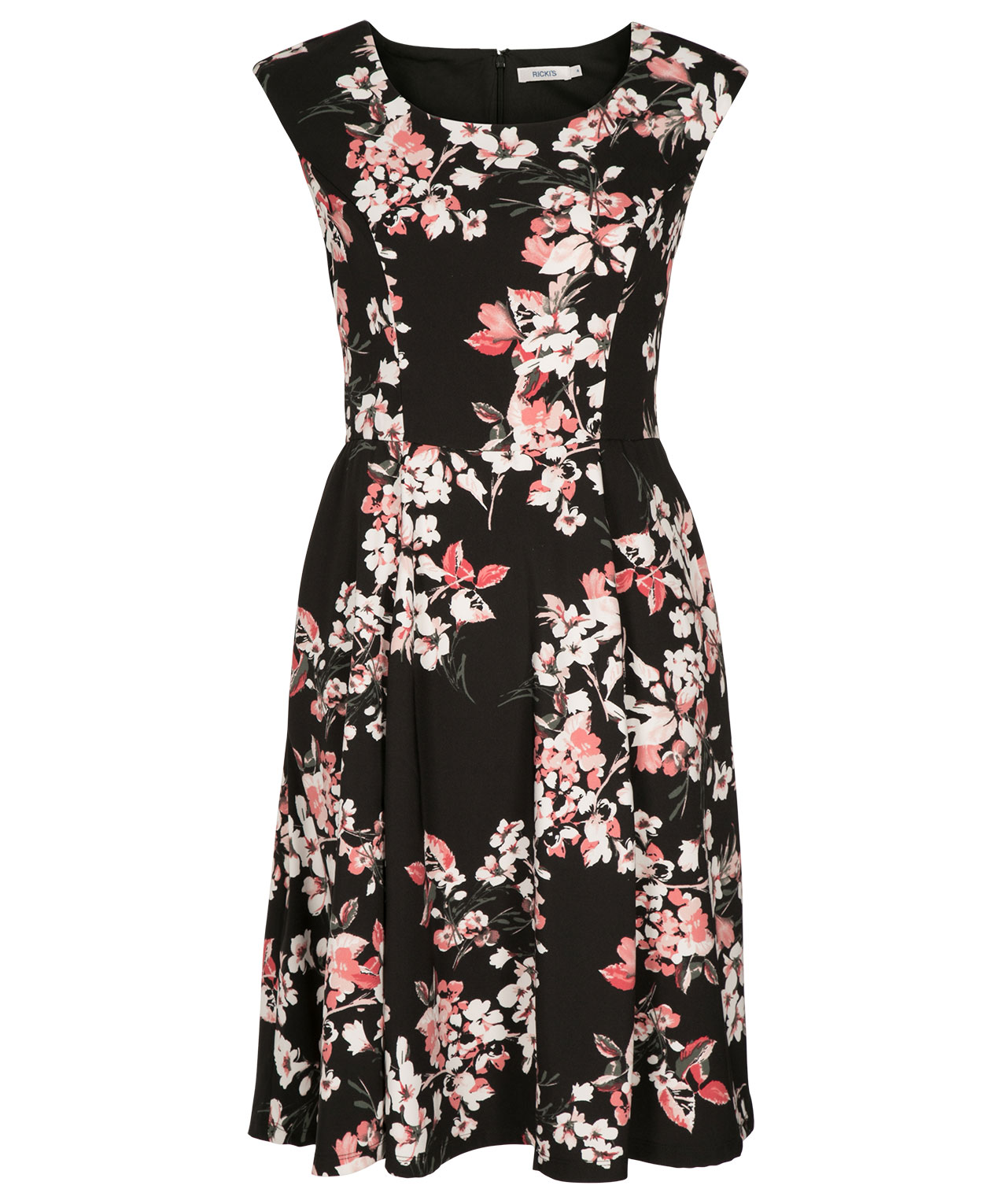 7f9f57be8ab9 Oriental Floral Print Dress, Black/White/Pink, hi-res