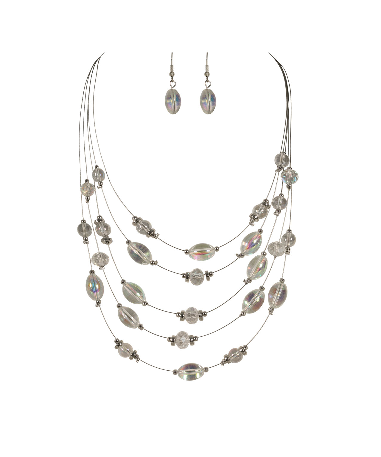 crystal icy iridescent quartz necklace blue