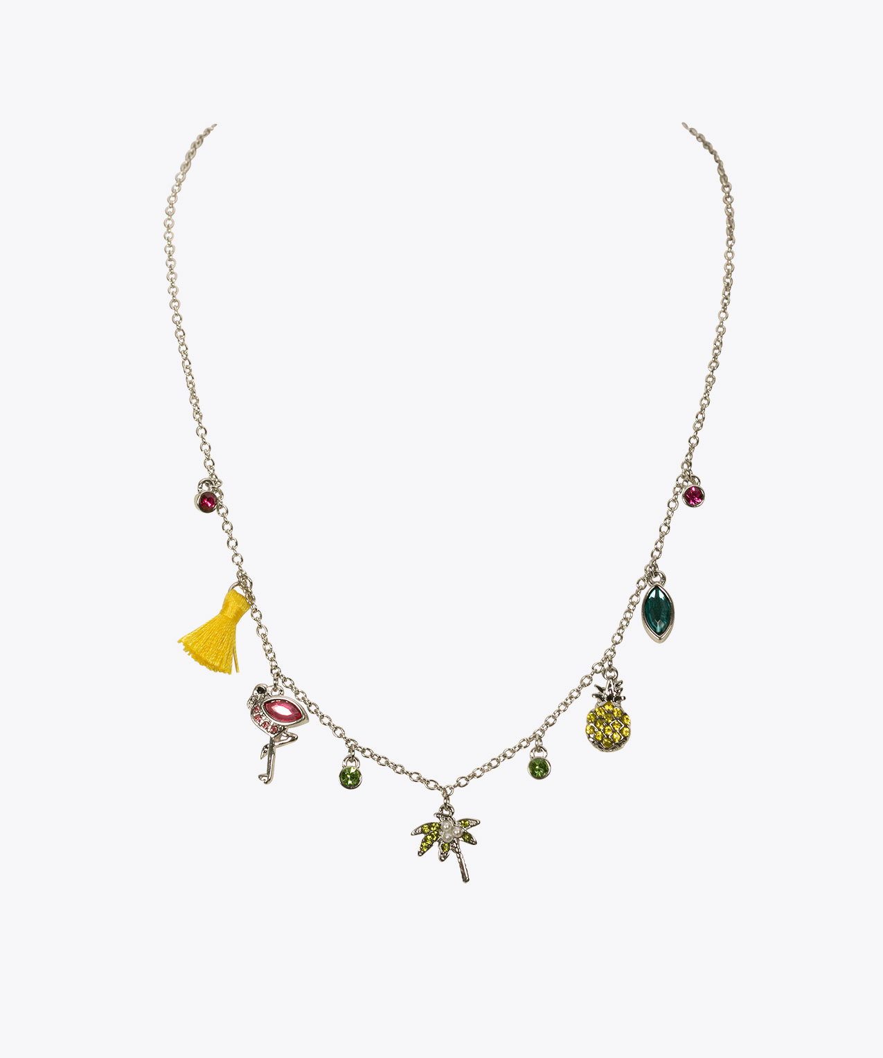 Tropical Charm Necklace, Rhodium/Yellow/Hot Pink, hi-res