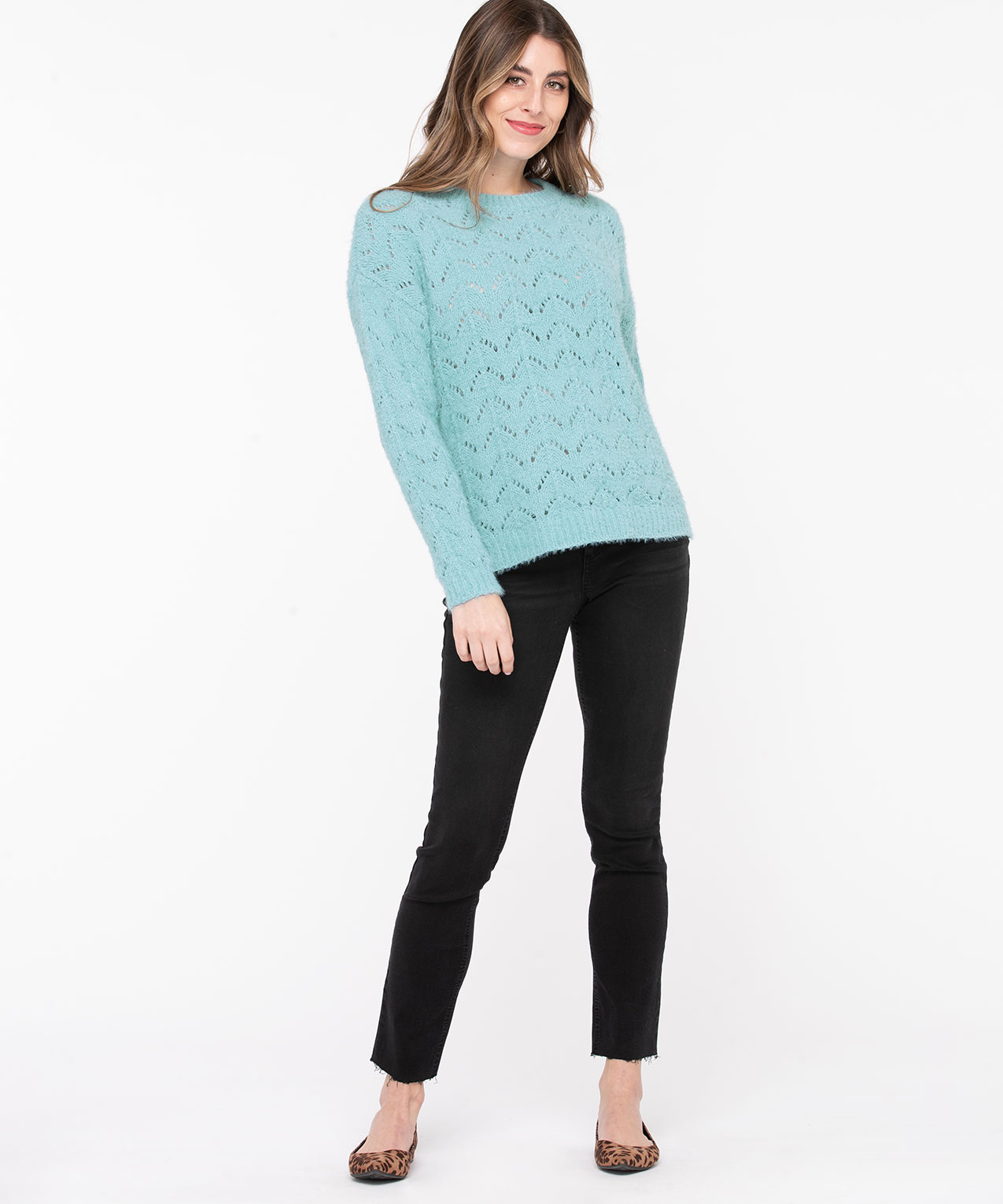 Chenille Pointelle Sweater, Reef Waters, hi-res