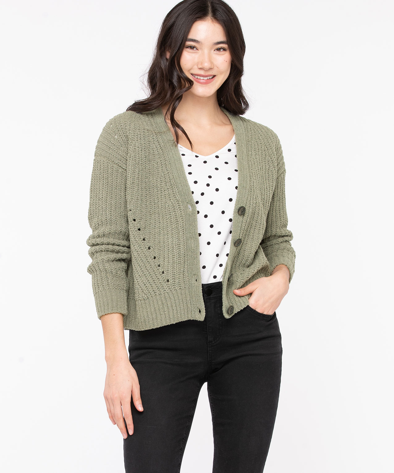 Button Front Chenille Cardigan, Seagrass, hi-res