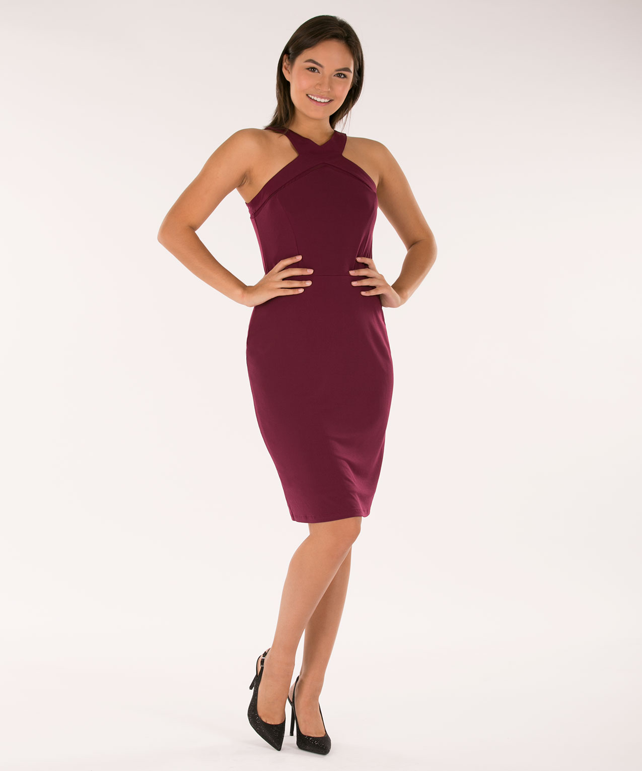 Halter Neck Sheath Dress, Wine, hi-res