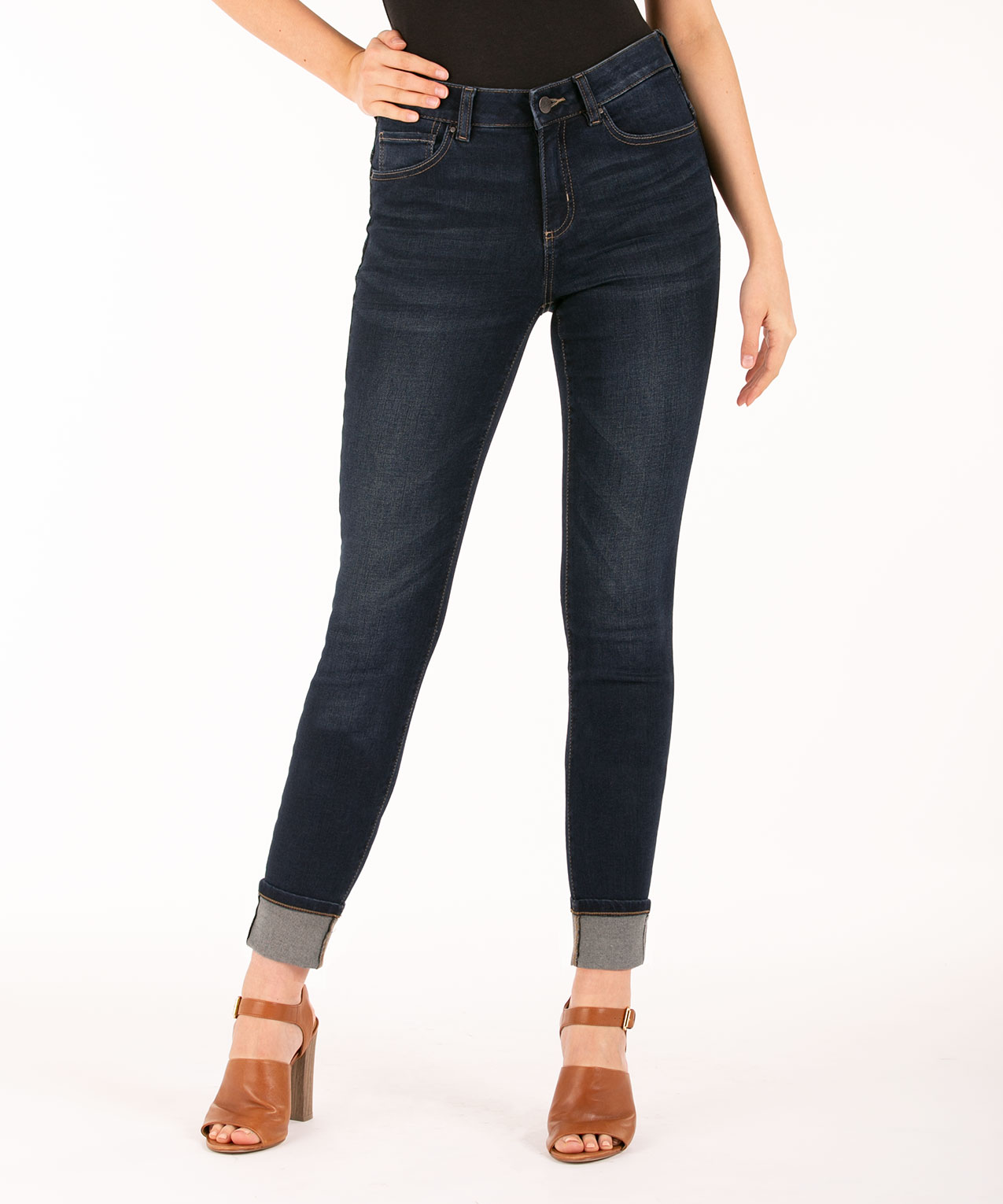 Cuffed Dark Wash Ankle Jean, Dark Wash, hi-res