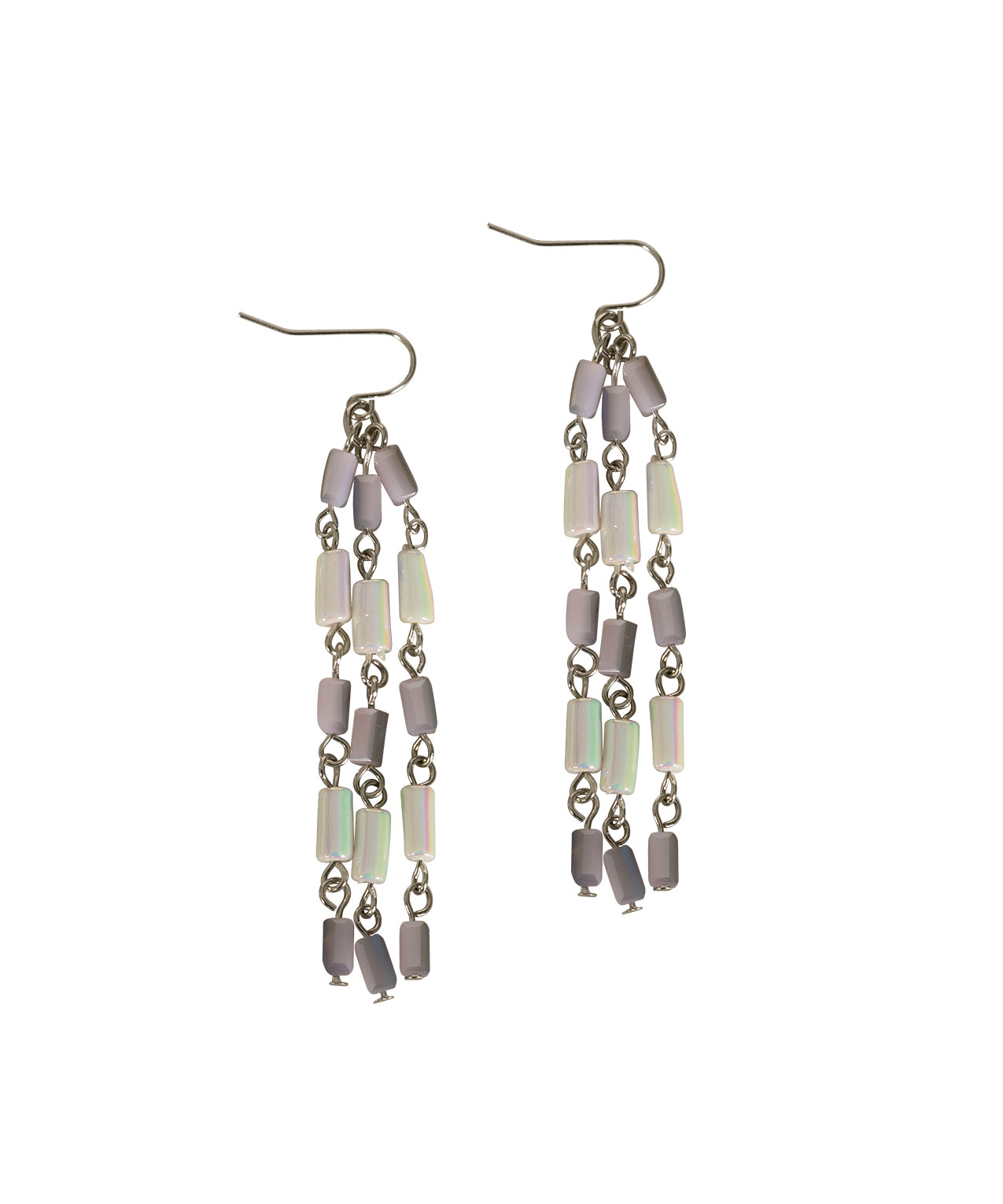 Iridescent Seed Bead Chandelier Earring Iced Violet Rhodium Hi Res