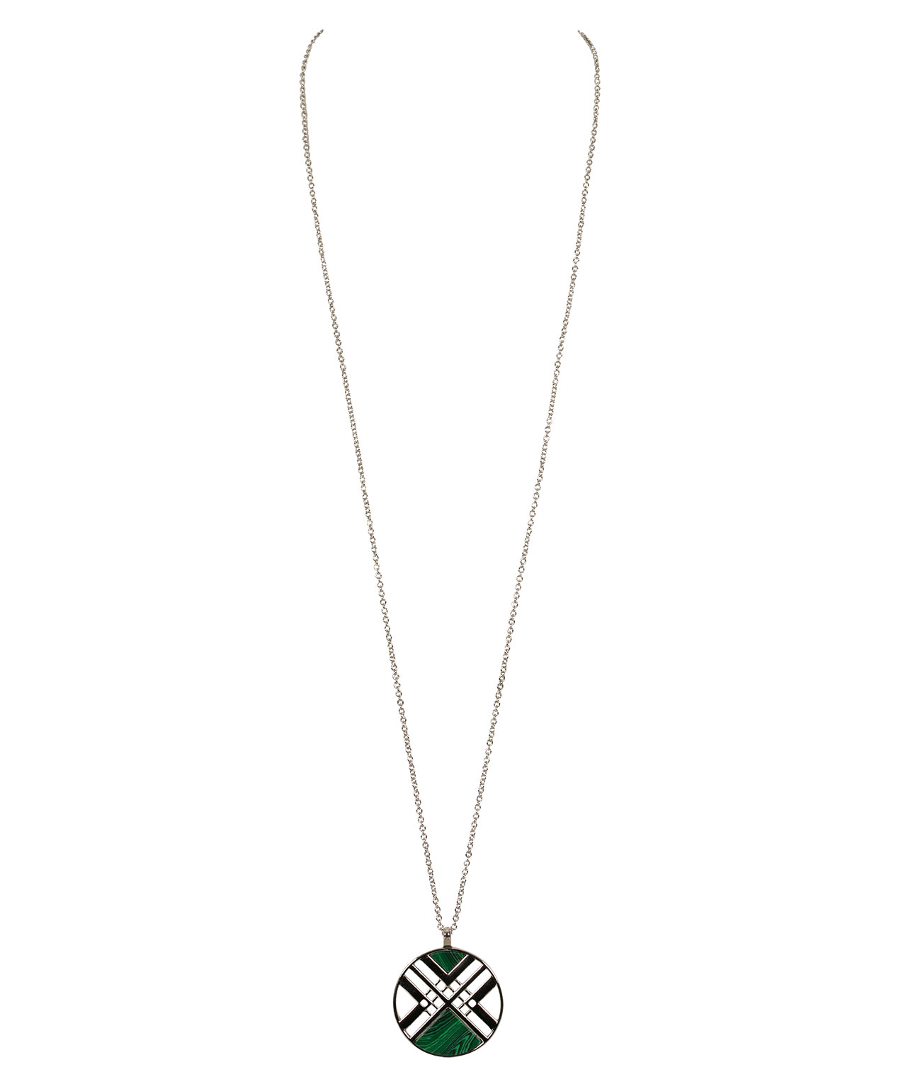 Geo Pendant Necklace, Jade/Rhodium, hi-res