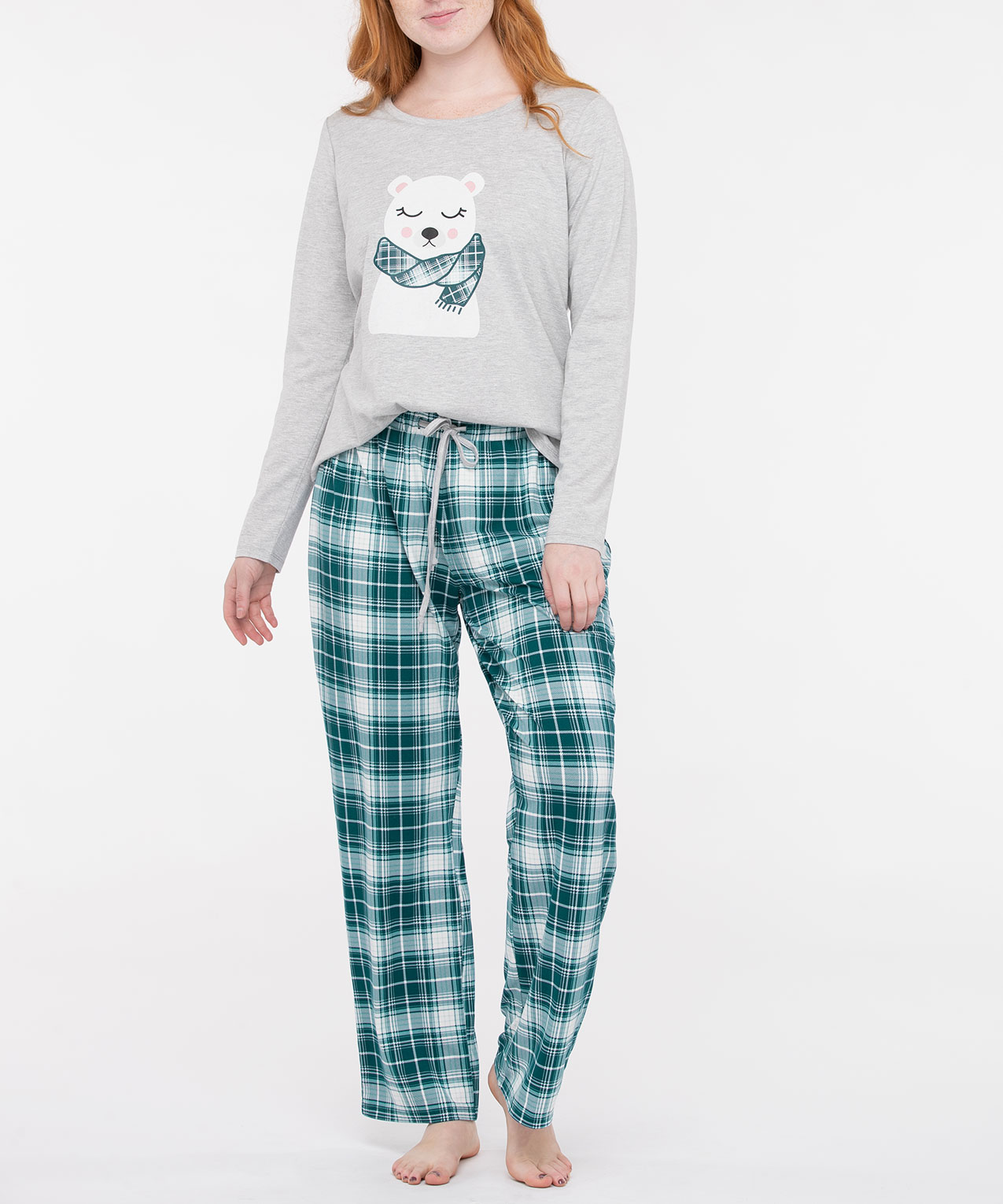 Polar Bear Screen Tee Pajamas, Light Heathered Grey/Dusty Pink/Teal, hi-res