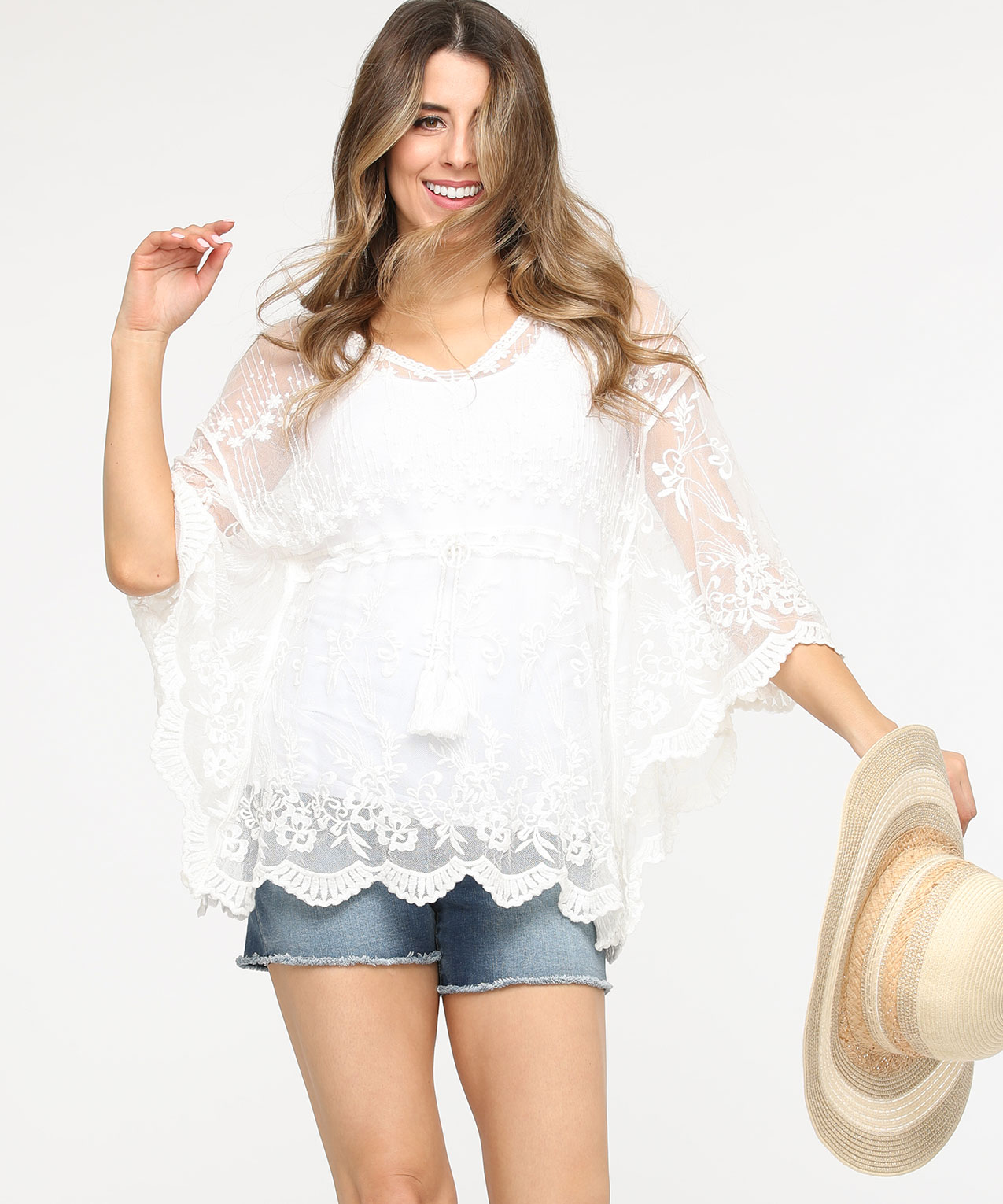 Crochet Tassel Tie Cover-Up, Pearl, hi-res