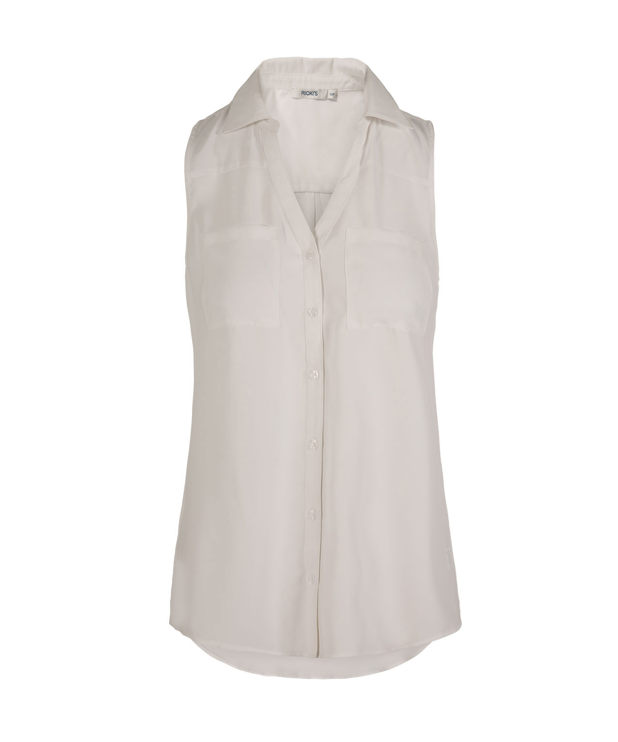 Sleeveless Collared Button Front Shirt Rickis