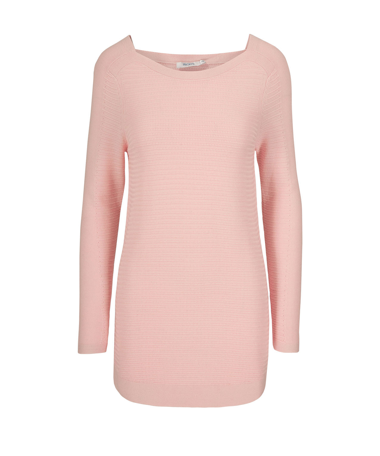 Square Neck Ribbed Pullover Sweater Rickis Basic Pull Over Soft Peach Hi Res