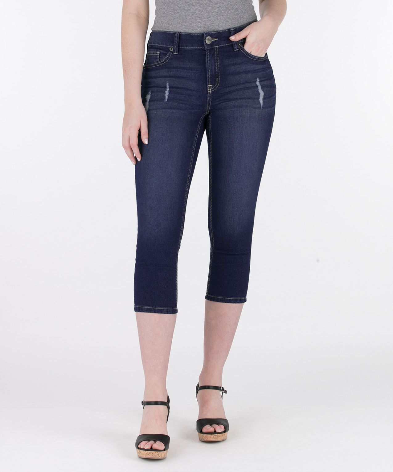 Heavy Stitch Distressed Capri Jean, Mid Wash, hi-res
