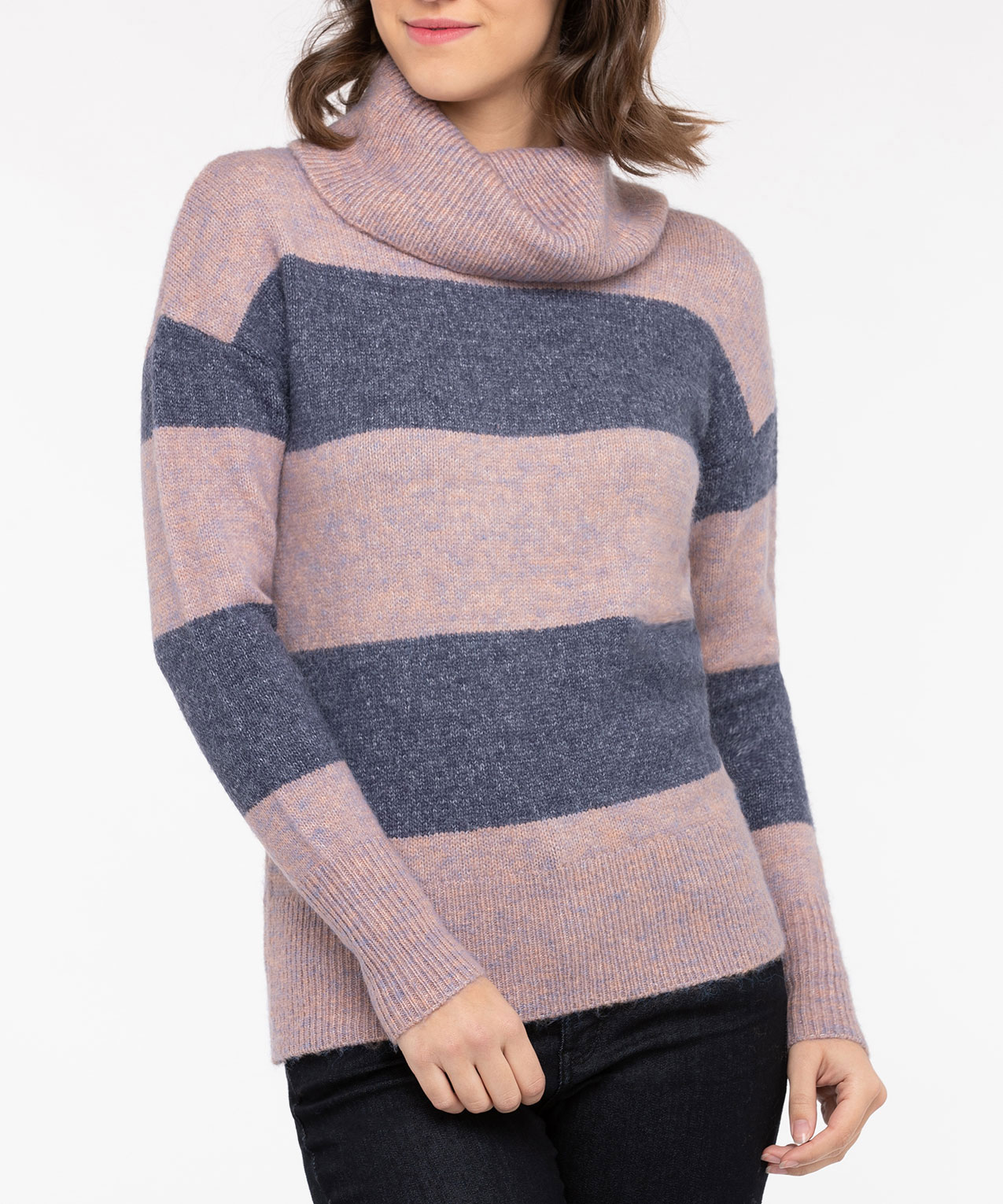 Striped Cowl Neck Sweater, Dusty Blush/Steel Blue, hi-res